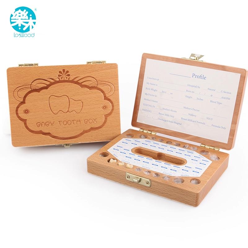 Logwood Teeth Box Organizer Wooden Storage Box 3-6 YEARS Baby Keep Milk Teeth Creative Kids Children Christmas Gifts