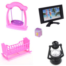 Rocking Cradle Bed TV Princess Swing Bar Chair Washing Machine Lamp 1:12 Dollhouse Miniature Kitchen Room Decor Dolls Accessory(China)
