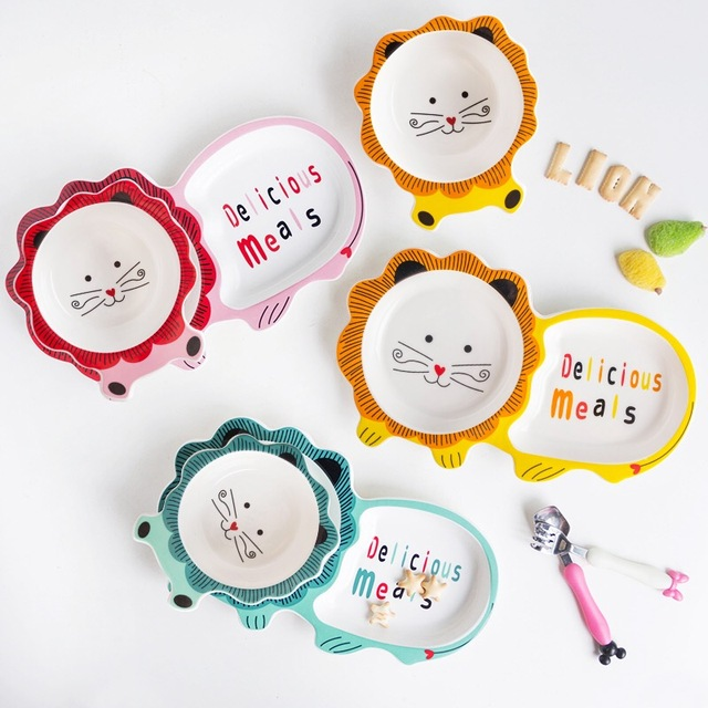 3PCS children's plate ceramic children's cutlery set creative cute cartoon tableware baby eating dinner plate bowl plate