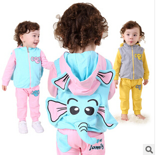 Anlencool Roupas Infantil Meninas free Shipping Brand Baby Clothes Sets Youngster Three-piece Cotton Fabric Elephant Clothing