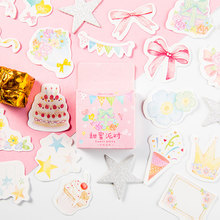 45Pcs/box Sweet party Decoration Sticker DIY Scrapbook Notebook Album Sticker Stationery Kawaii Girl Stickers lovedoki summer foil gold sticker alphabet words date notebook decorative stickers planner accessories scrapbook diy stationery