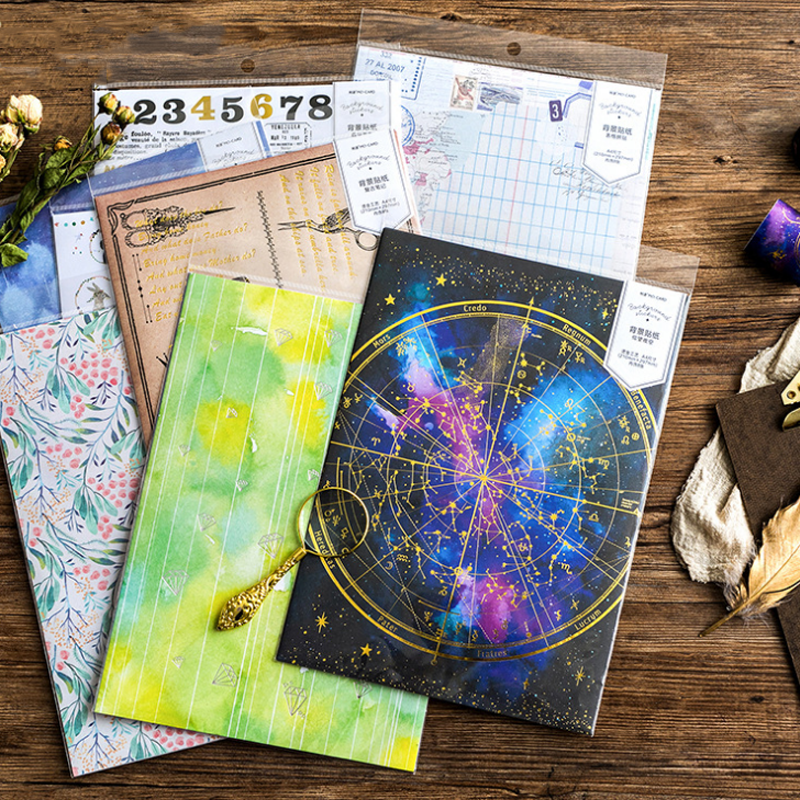 8 Pcs/pack Cute A4 Stationery Stickers Retro Bronzing Planet Diary Planner Decorative Mobile Stickers Scrapbooking DIY Stickers
