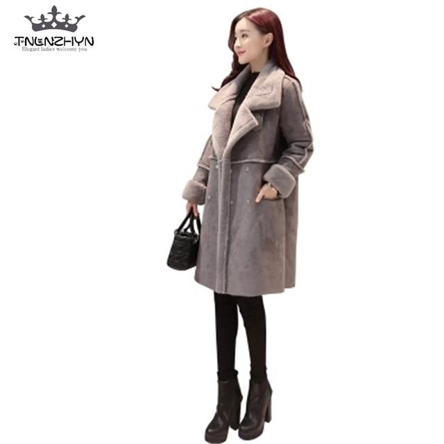 9c08e4d89f4 TNLNZHYN корейский стиль 2019 новое зимнее женское пальто средней длины  замша овечья шерсть пальто толстое теплое