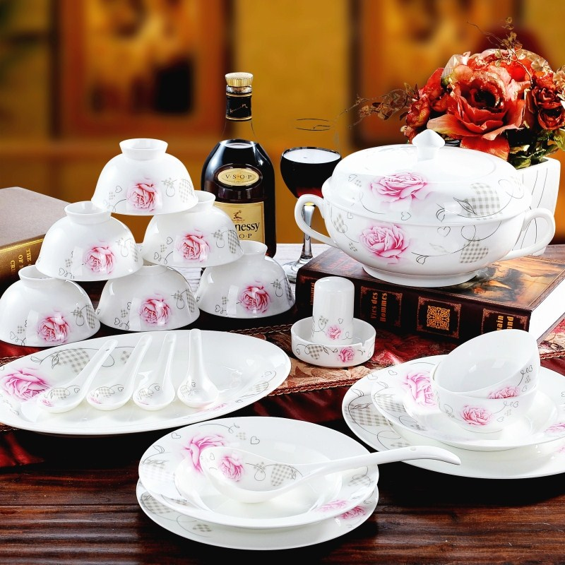 Wedding Gift Dinner Set : dinnerware set 56 head bone china tableware plate dishes wedding gift ...
