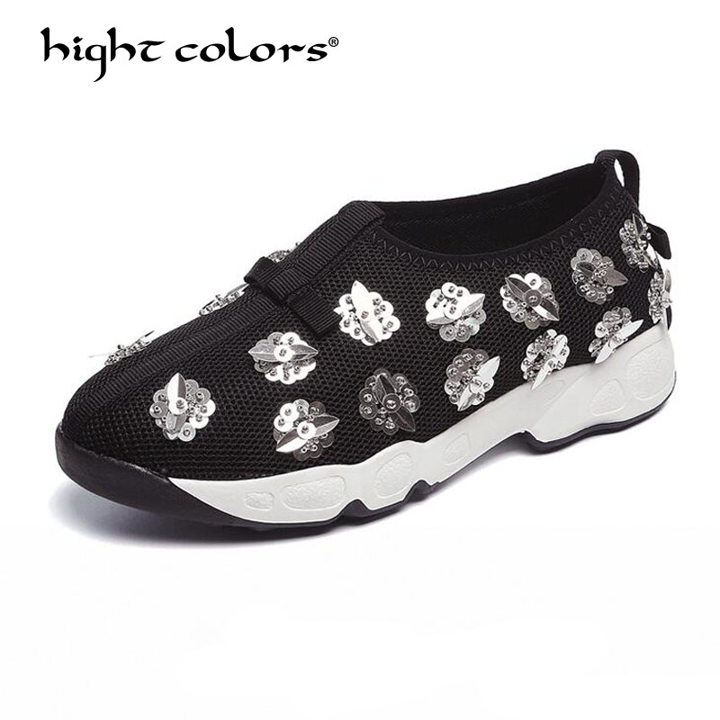 Brand 2019 Spring Summer Metal Sequined Flowers Women Casual Shoes Luxury Design Air Mesh Beaded Flats