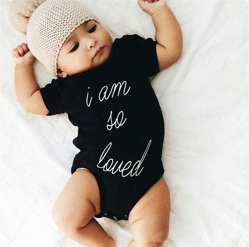 Newborn Kids Baby Rompers Handwriting Lettler Jumpsuit Boys Girls Romper Short Sleeve Cotton Jumpsuit Clothing Summer Outfits