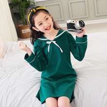 2018 new listing solid color bow knot children's sleep skirts simple and sweet cotton girls home wear at night wear
