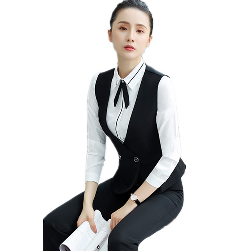 Fashion Elegant Career Slim Red Black Women's Vest Hotel Work Sleeveless Jacket Office Lady Waistcoat Short V-Neck Outerwear 4XL
