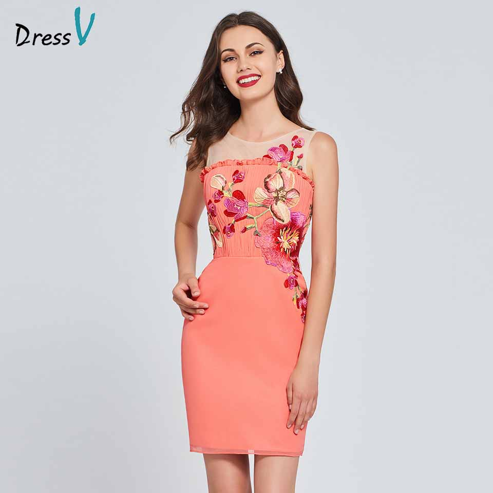 Dressv watermelon   cocktail     dress   scoop neck sleeveless elegant appliques short mini wedding party formal   dress     cocktail     dresses