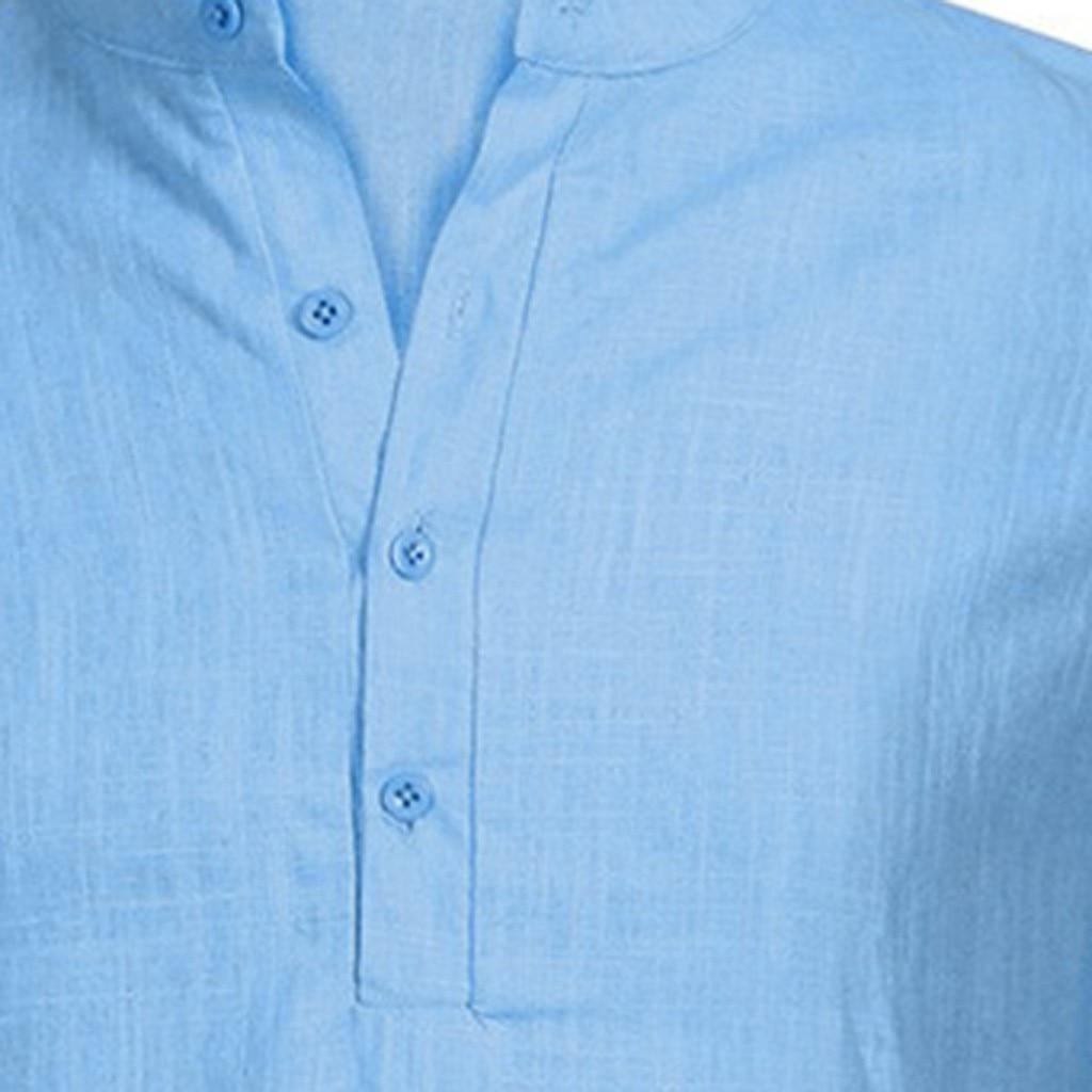 Men's Casual Blouse Cotton Linen shirt Loose Tops Short Sleeve Tee Shirt S-2XL Spring Autumn Summer Casual Handsome Men Shirt 20