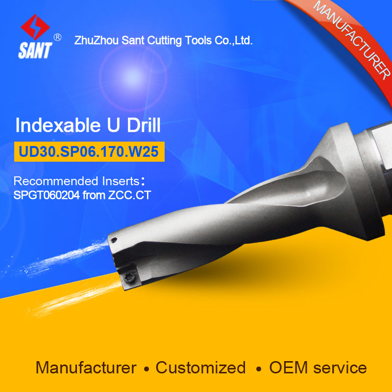 Double helix internal cooling holes 3 L/D 17mm U drill UD30.SP06.170.W25/ZTD03 with inserts ZCC SPGT06 or Taegutec SPMG06 double helix internal cooling holes 3 l d 17mm u drill ud30 sp06 170 w25 ztd03 with inserts zcc spgt06 or taegutec spmg06