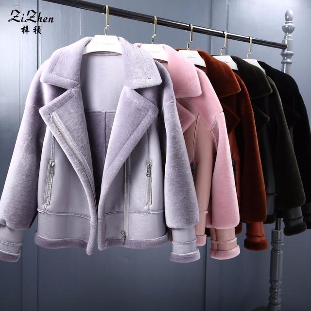 ZiZhen New Winter Women's Real Natural Lamb Fur Coat Sheep Shearling Short Jacket Overcoat Pockets PU Leather 180611-1