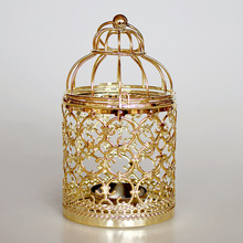 Europe Golden Hollow Metal Pattern Cylinder Candle Holder Wedding Centerpieces Decorative Iron Candlestick Lantern Decor Crafts