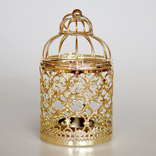 Candle-Holder Lantern-Decor Decorative-Iron Wedding-Centerpieces Metal-Pattern Golden-Hollow