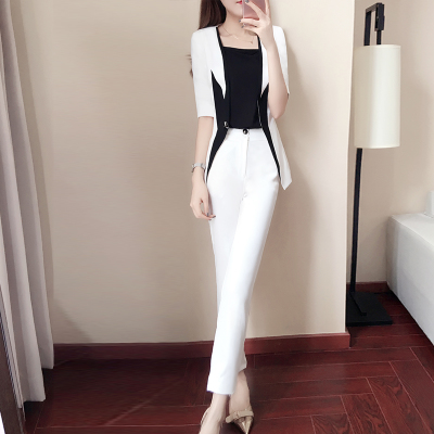 New women's spring fashion small suit two-piece spring black and white stitching suit suit female 2