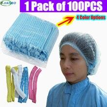 100 szt. Jednorazowe do jedzenia warsztaty laboratoryjne czapki nietkane plisowane przeciwkurzowe czepek prysznicowy CleanRoom Pharmaceutical Clear Work Hat
