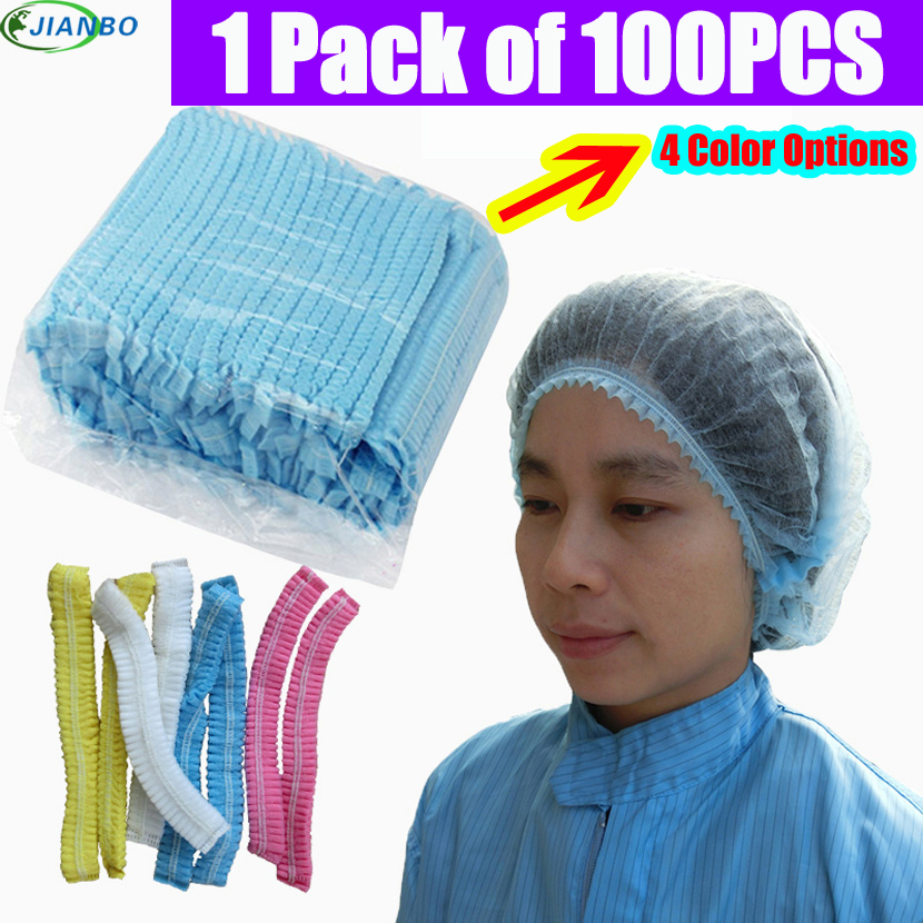 100pcs Disposable Food Workshop Laboratory Caps Non Woven Pleated Anti Dust Shower Cap CleanRoom Pharmaceutical Clear Work Hat