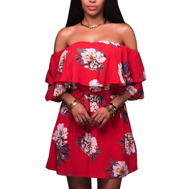 2e7d693c2e3f Summer Red Floral Dress Ruffle Neck Off Shoulder Short Sleeve Mini Dress  Loose Beach Dress With