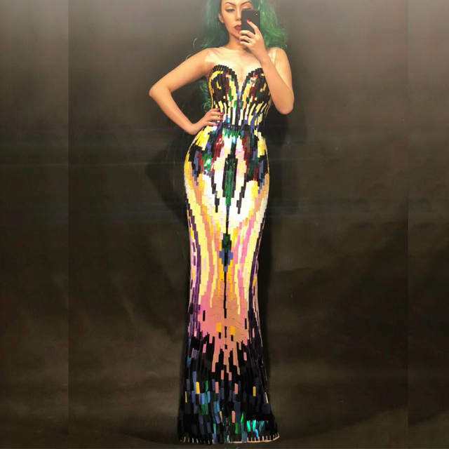 Colorful Sequins Long Dress Women'S Evening Party Wear Luxurious Stretch Prom Birthday Celebrate Female Singer Nightclub DN2241