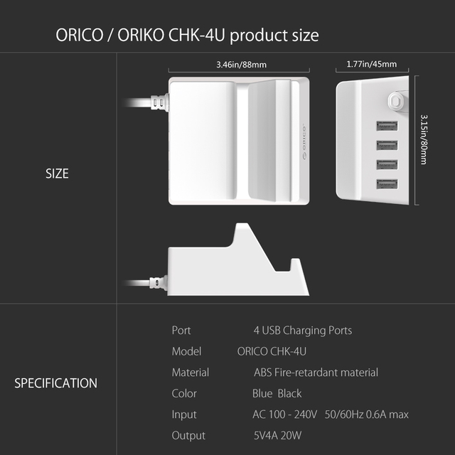 ORICO CHK-4U USB Charger Holder 4 Ports 5V 4A 20W Desktop Smart Charger with Phone / Tablet Mount for Samsung iPhone Power Bank