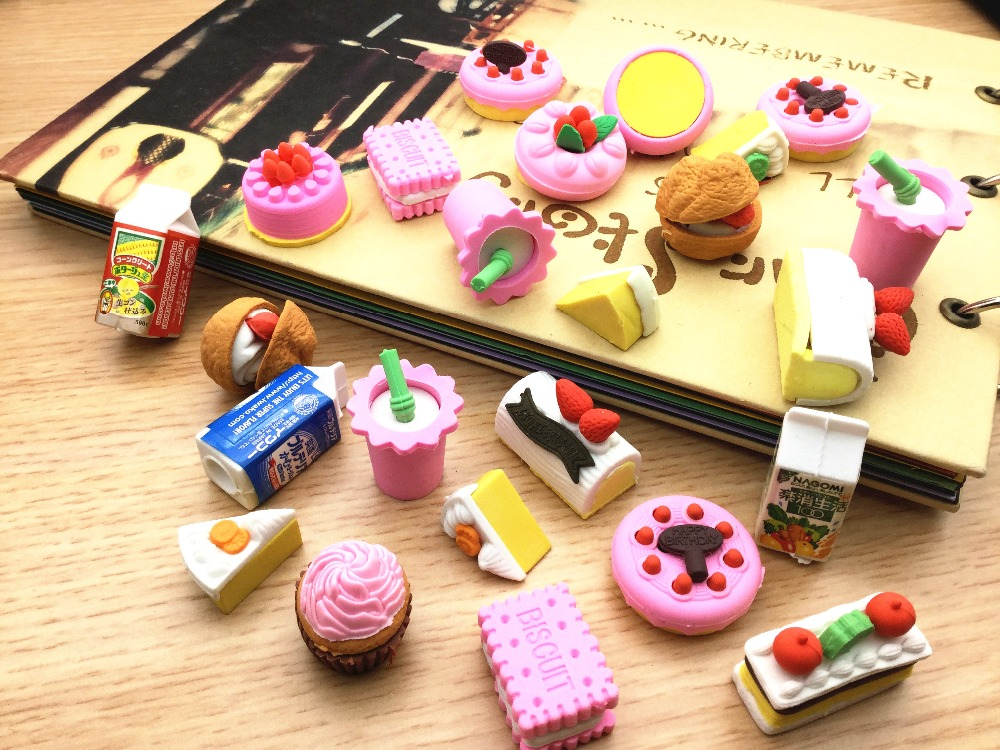 4 Pcs/Lot Random Eraser Rubber Stationery New Cake/Fruit/Animal/Vegetables Shaped Creative Cute Office School Supplies