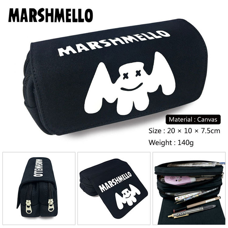 Girls Wallet Pencil-Case Marshmello Canvas School-Supplies Gift Boys Bags Make-Up-Bag