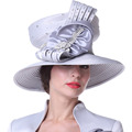 Women Hats Church Hats Top Crown Big Bow Silver Color Floral Pattern Large Size Wide Brim Party Office Wedding Dress Hats