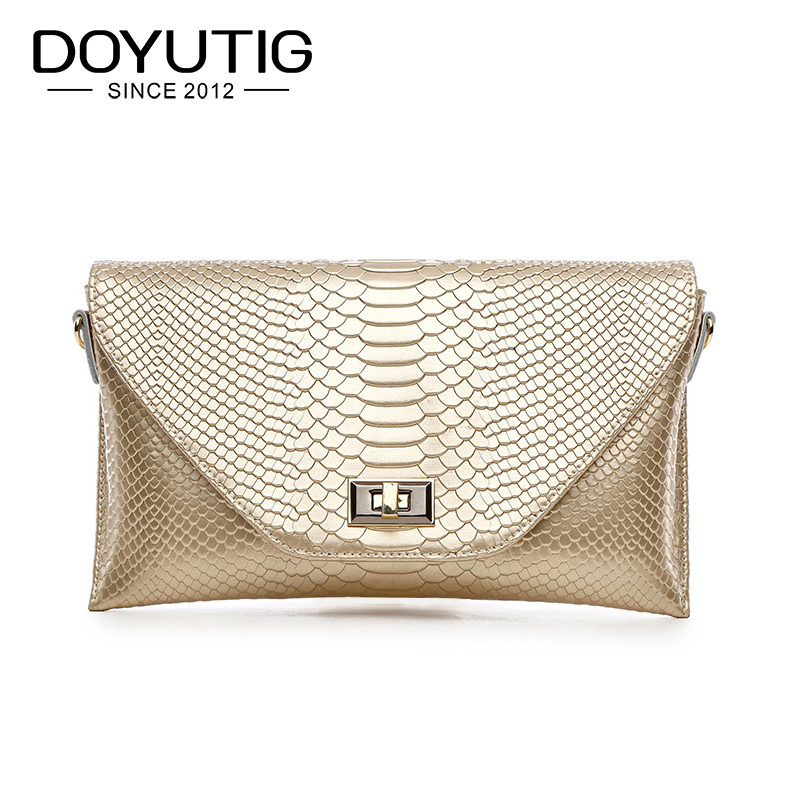 DOYUTIG Design européen femme Serpentine jour pochettes classique Split cuir or/blanc/noir sacs à bandoulière pour dame A166