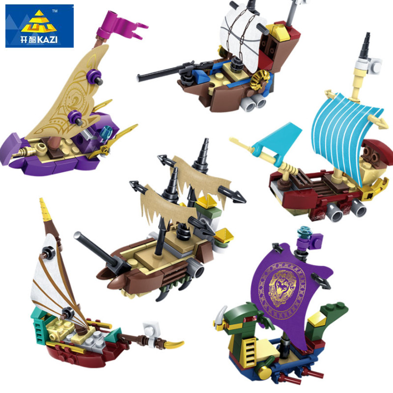 купить KAZI 6Pcs/set Pirates Ghost Ship Educational Construction Building Blocks Toys For Children Compatible All Brand City Toys недорого