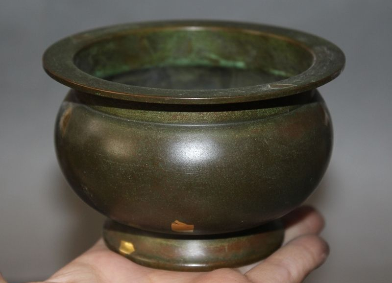 Antiques Old Chinese Pure Bronze Gild Buddhism Temple Incense Burner Censer