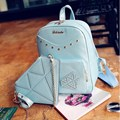 Daypacks Casuais das mulheres de Couro Sacos De Escola Para Adolescentes Mochila 2 ps/set Mochila Rebite Diamante Composto Bolsa de Ombro Mochila