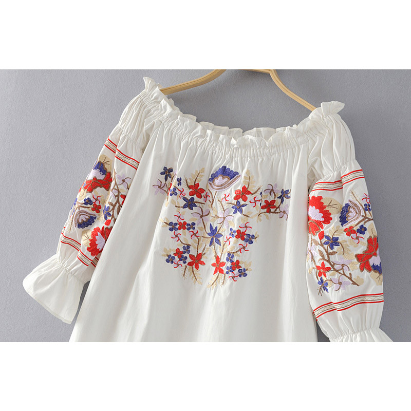 7770d36c8fc women Vintage hippie mini Dress Sexy off shoulder Floral Embroidered BOHO  DRESS Bohemian Mexican Ethnic Tunic Beach mini DRESSES-in Dresses from  Women s ...