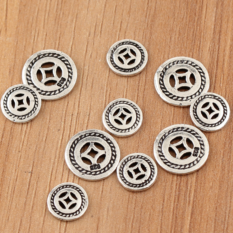 100% 925 silver Spacers Real Sterling Silver Jewelry Spacers Tibetan Mala's Spacers Chinese Ancient Coin Symbol Bead