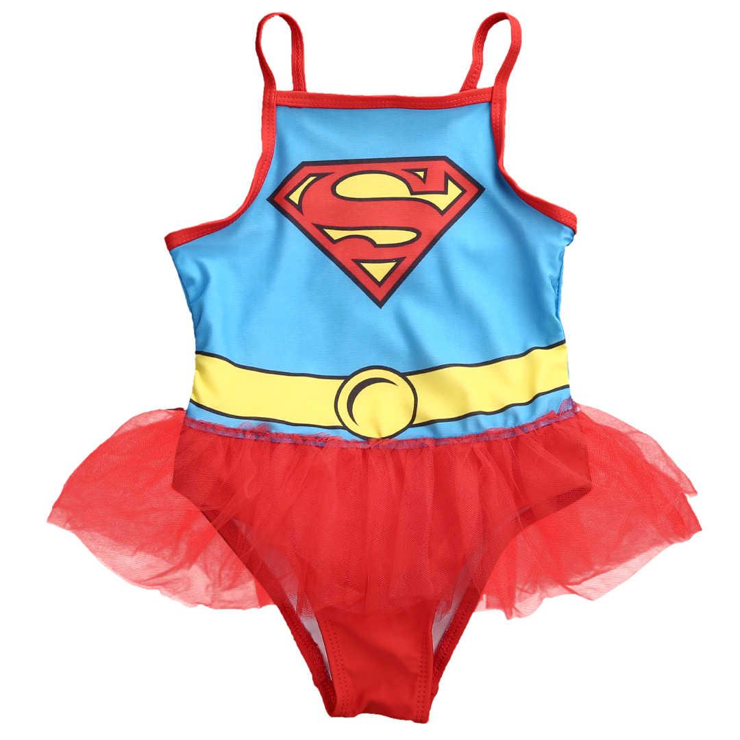 05035fc974a89 2017 Girls Lace skirt Swimwear Superman Tankini Swimsuit Set swim suit with  tutu skirt