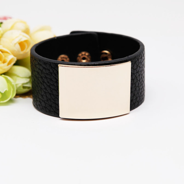 Punk Wide Leather Bracelet...