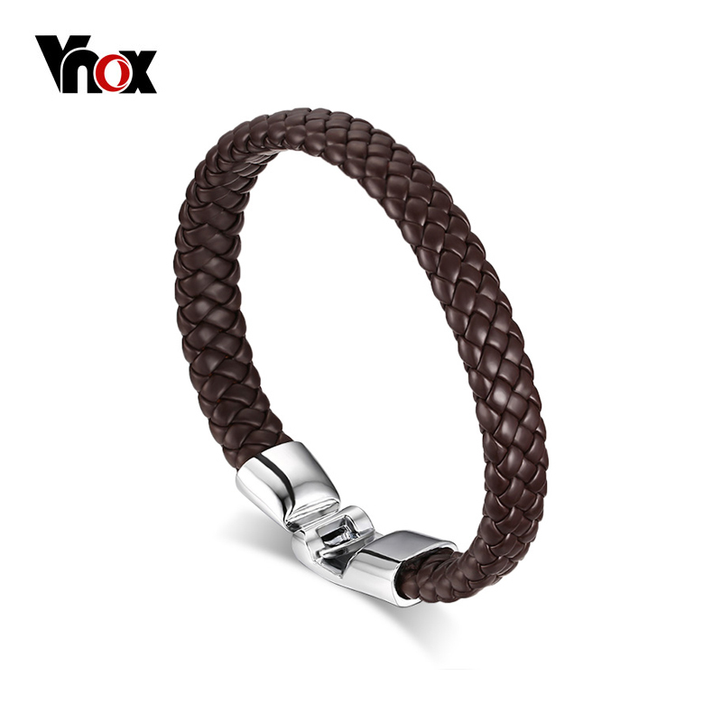 Vnox Braided Leather Bracelet for Men Women Cuff Bracelet Alloy Buckle stylish faux leather layered braided bracelet for men