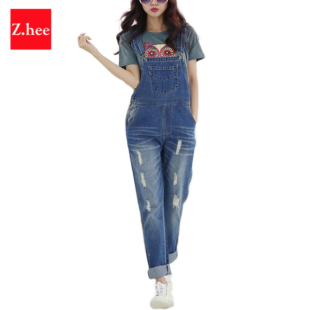 Casual Ripped Loose Straps Denim Rompers Womens Jumpsuit Female Denim Boyfriend Overalls For Women Jumpsuits And Rompers women