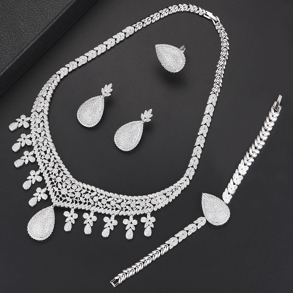 missvikki Brand New Elegant Water Drop African Bridal 4 PCS Jewelry Sets Wedding for Women Wedding Rhodium Full Cubic Zirconia