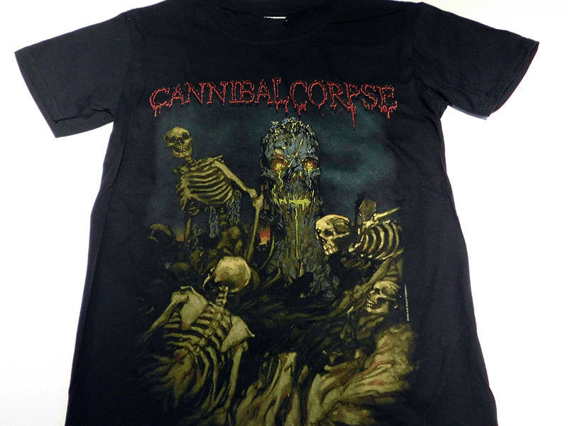 Retro T Shirts Short Sleeve Men Cannibal Corpse A Skeletal Domain Short Crew Neck T Shirts