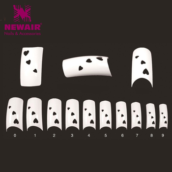 500Pcs Beauty Heart-shaped Hollow French Nail Art Tips ABS Fashion False Nails with Heart 10 sizes Fake Nails Free Shipping Маникюр