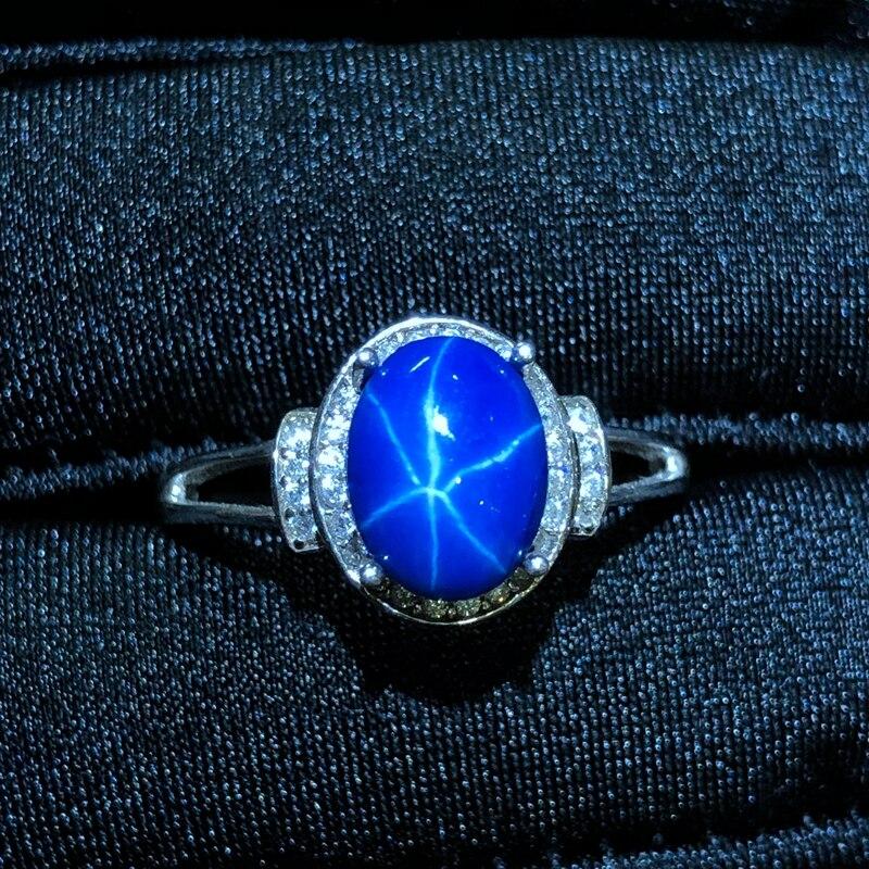 Starlight Sapphire Ring, Classic 925 Puur Zilveren Ster Lijn Mooie Mail Verpakking-in Ringen van Sieraden & accessoires op  Groep 1
