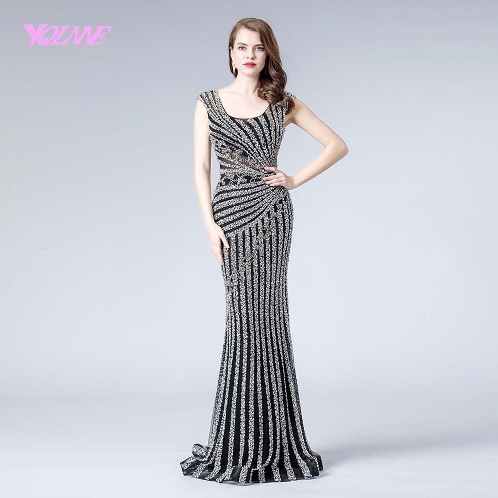 Black Crystals Evening Dresses Long 2019 Formal Dress Mermaid Evening Gown Robe De Soiree YQLNNE