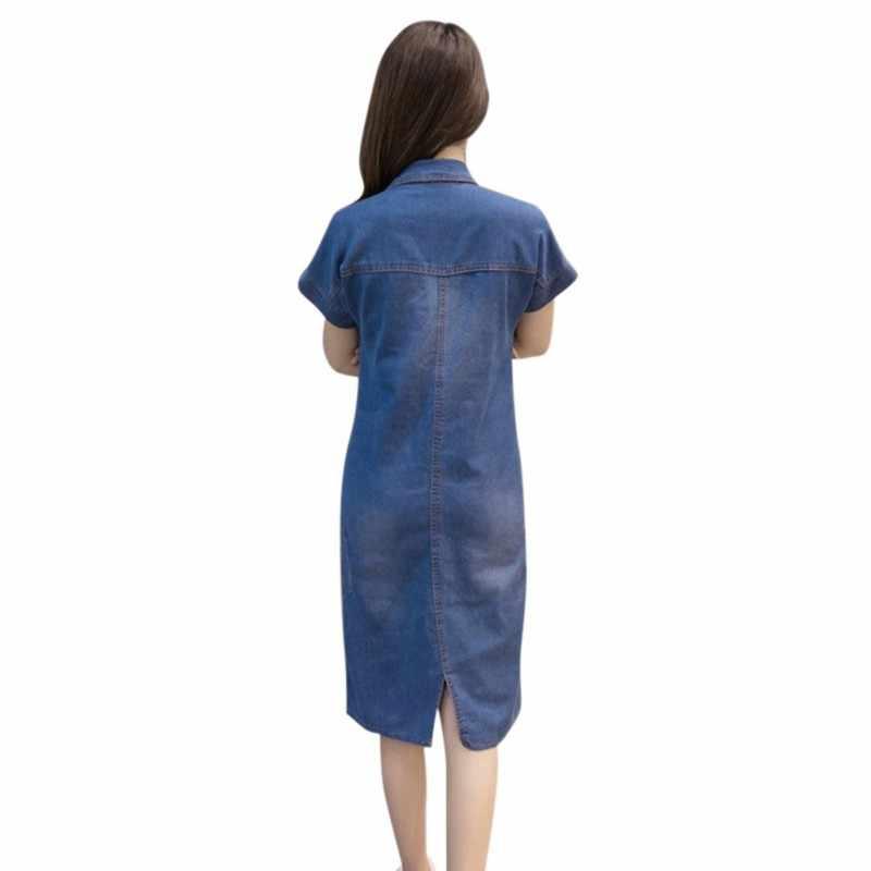 Женское джинсовое летнее женское платье женское джинсовое платье Элегантное повседневное Ковбойское платье