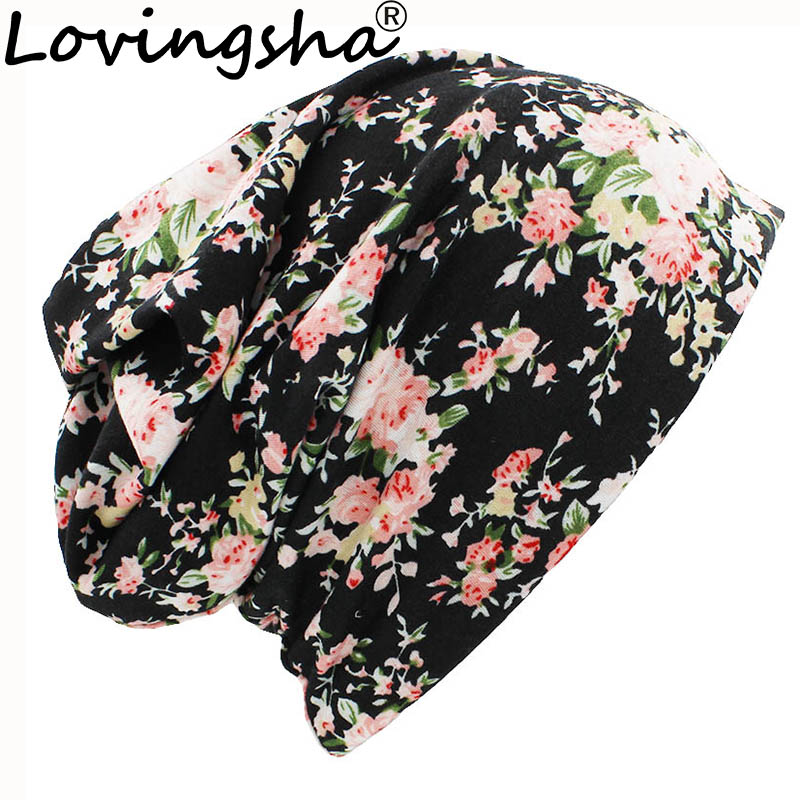 LOVINGSHA Autumn Winter Women Thin   Skullies     Beanies   Floral Design Multifunction Hats For Girl Lady Fashion Feminino Scarf HT098