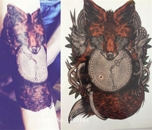 21 X 15 CM Fox And Clock Sexy Cool Beauty Tattoo Waterproof Hot Temporary Tattoo Stickers#124