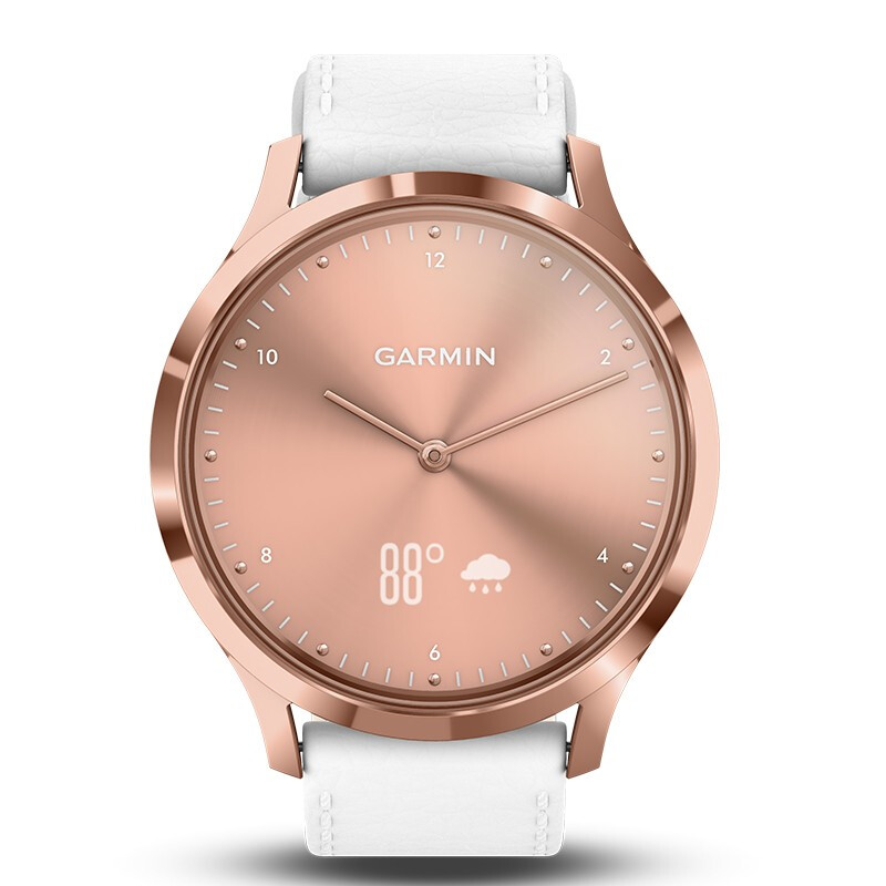 GARMIN Case Stainless-Steel Leather-Band Italian White HR with Rose-Gold PVD Vvomove