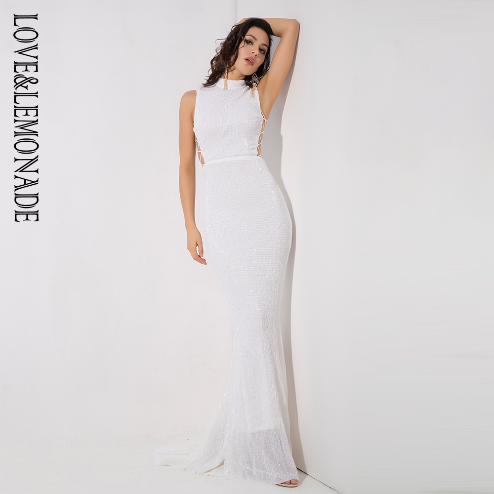 Love Lemonade White Collar Side Cut Out Fishtail Slim Elastic Sequins Long Dress LM1153