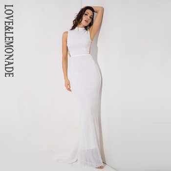 Love&Lemonade   White Collar Side Cut Out Fishtail Slim Elastic Sequins Long Dress LM1153 - DISCOUNT ITEM  15% OFF All Category