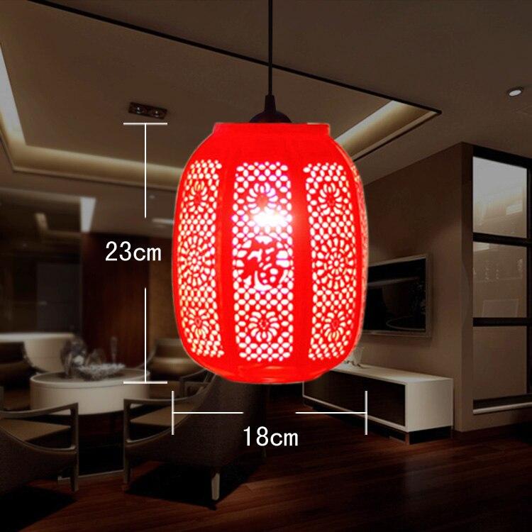 ФОТО Chinese Style Design Restaurant Bar Coffee Bar Red Lantern Ceramic Pendant Lamp Single Pendant Lights Salon Light Fixtures