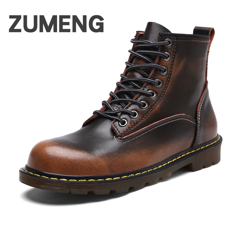 ZUMENG Boots For Men Autumn Winter Shoes Genuine Leather Ankle Short Plush Inside Lace-up Ankle Martins Boots men Shoe Bota
